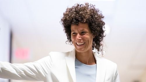 Andrea Constand walks to the courtroom for Bill Cosby's sexual assault trial. (AP)