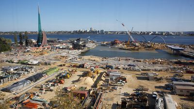 About 150,000 cubic metres of soil and clay, which is the size of 60 Olympic swimming pools, was removed from the  inlet's  river bed to begin the construction of Elizabeth Quay. (AAP)