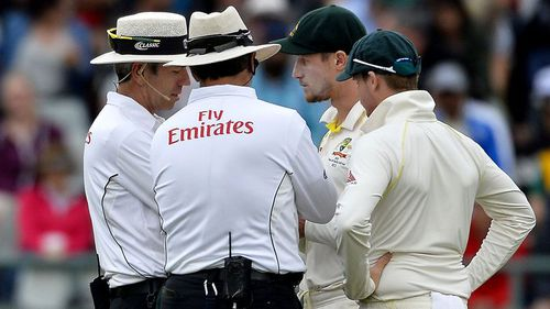 The umpires make their decision know. Picture: 9NEWS