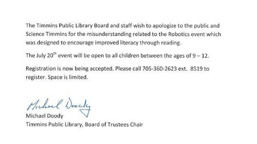 The library changed their policy to allow girls into the club two days after the petition was started. (Facebook)