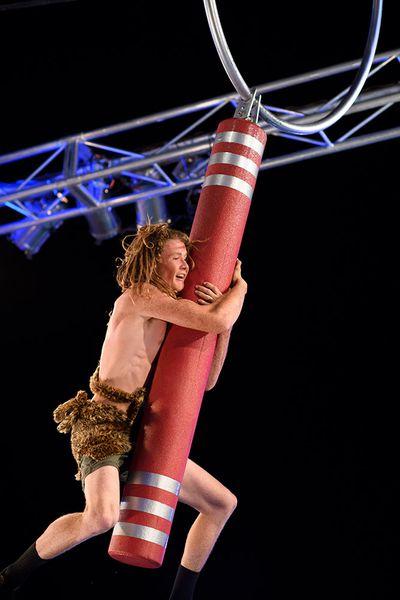 Daniel 'Tarzan' Weston clings for live to the Pole Rider.