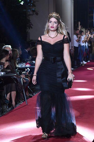 Kitty Spencer walks the runway at the Dolce & Gabbana secret show during Milan Fashion Week, September, 2018.