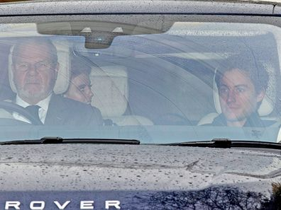 Princess Beatrice and Edo leaving Prince Andrew's residence in Windsor