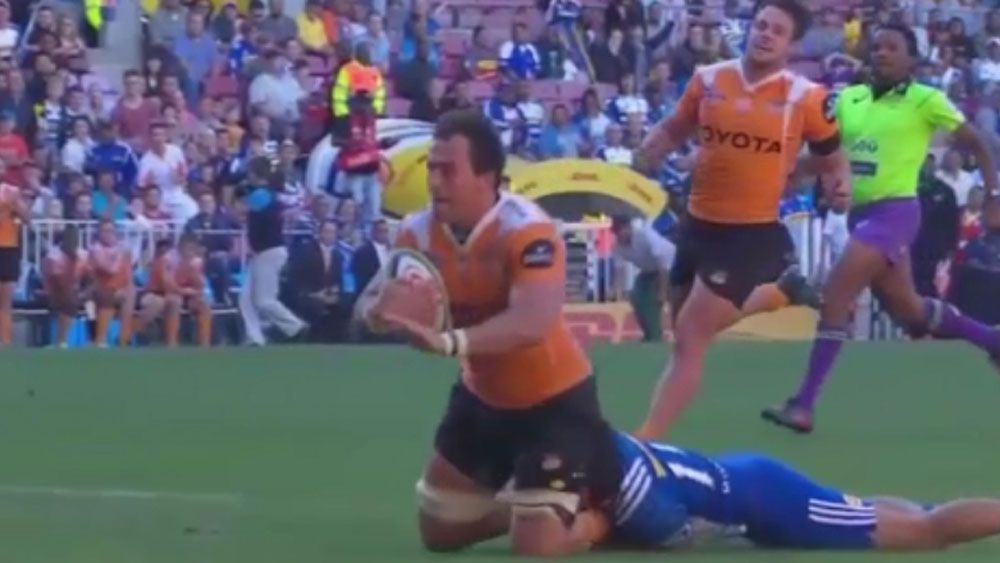 Cheetahs' Henco Venter denied try after terrific chase by Stormers' Cheslin Kolbe