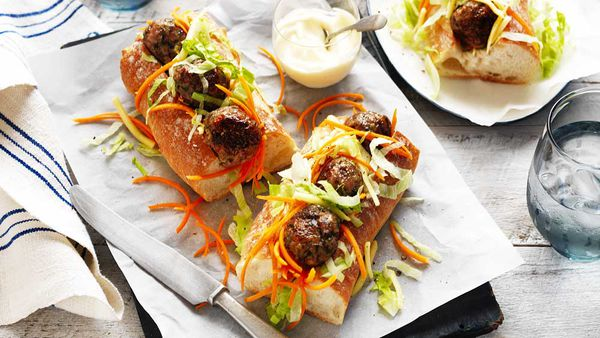 Pork and mushroom meatball subs by Onions Australia