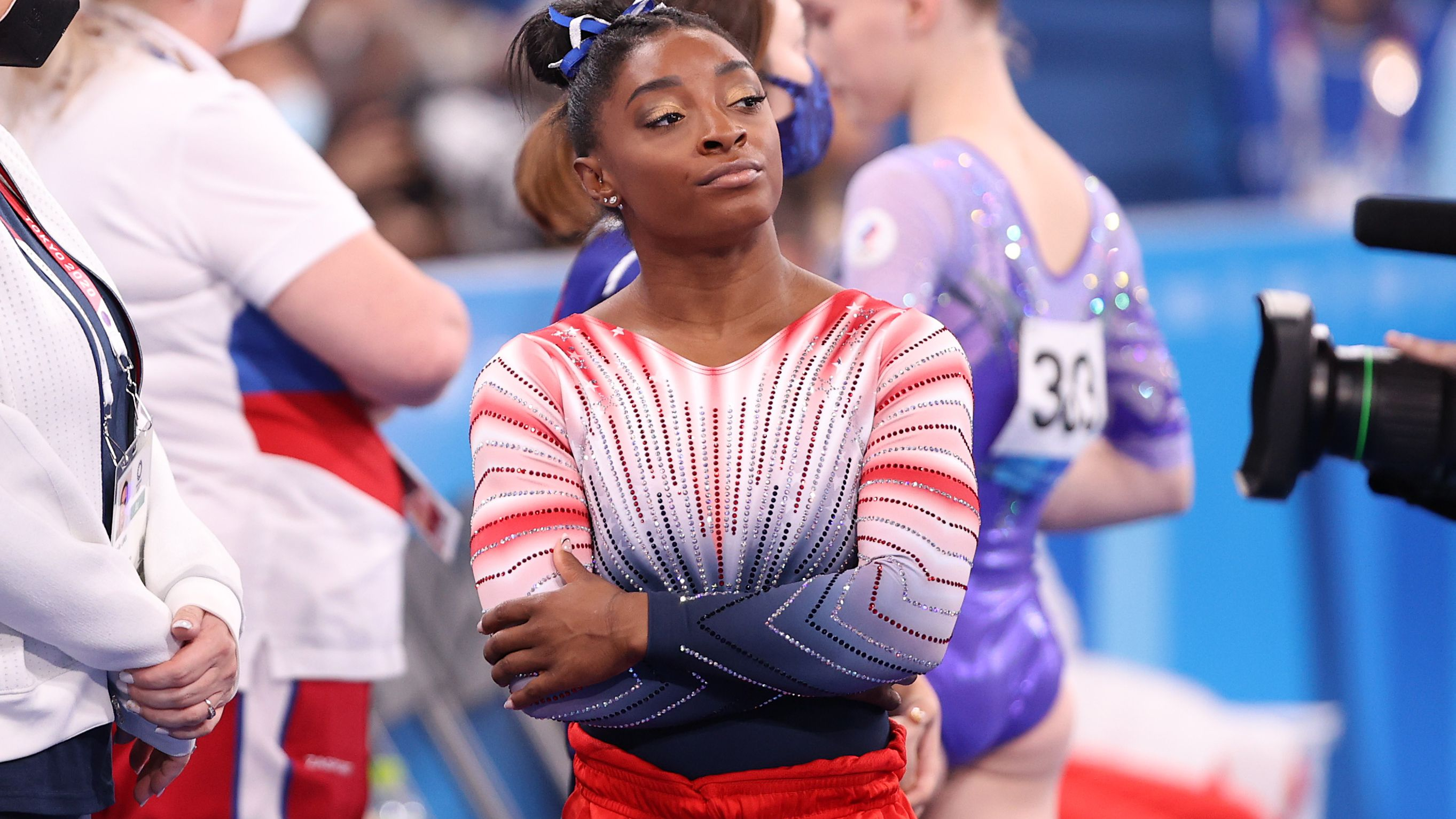 Simone Biles of Team United States looks on during the Women's Balance Beam Final on day eleven of the Tokyo 2020 Olympic Games.