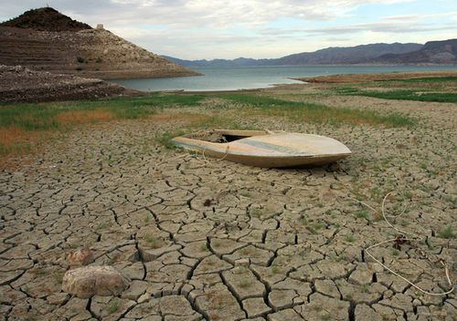 A mud-covered boat is seen in the Lake Mead National Recreation Area, Nevada.