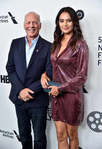 Bruce Willis and wife Emma Heming Willis attend the Motherless Brooklyn arrivals during the 57th New York Film Festival on October 11, 2019 in New York City.