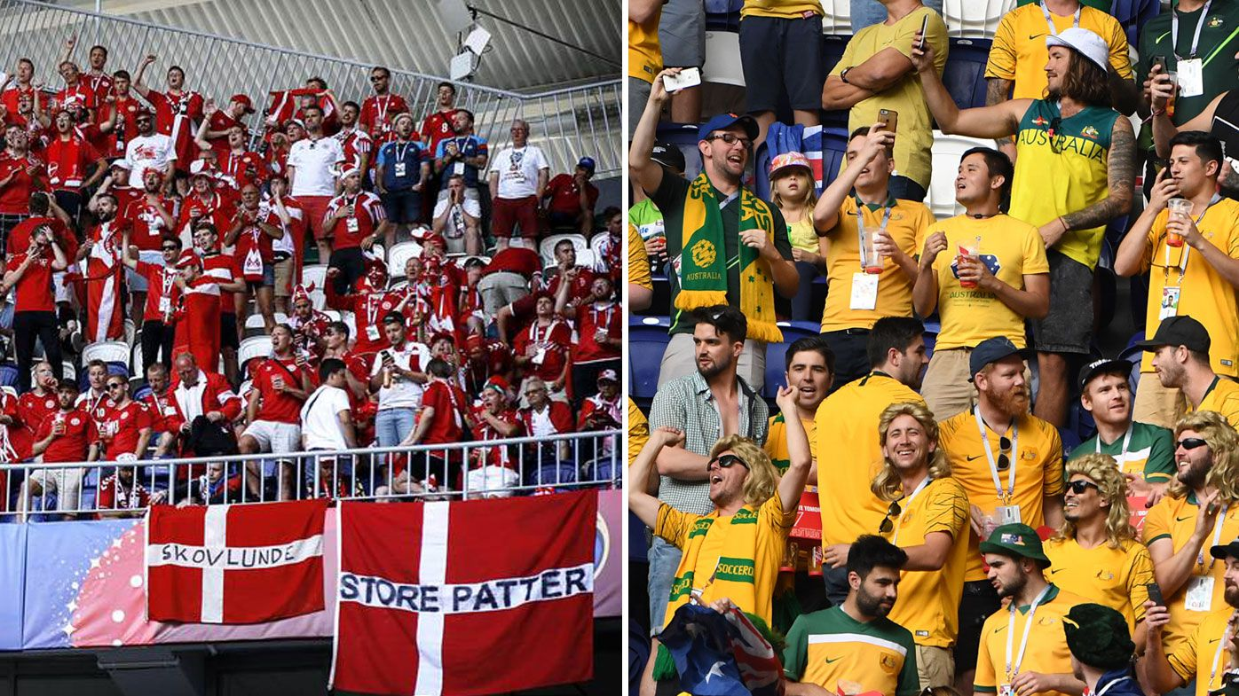 b7afeb786 World Cup  Denmark fined for sexist banner and unruly behaviour towards  Socceroos fans in Samara