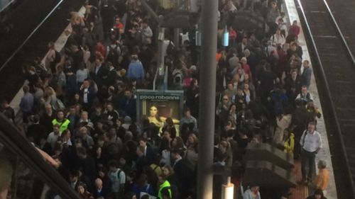 Crowds building at Southern Cross Station this evening.