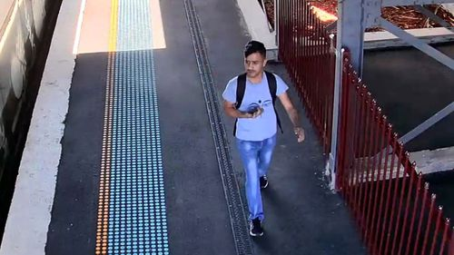 About 2.30pm a man boarded the same train and sat in the carriage opposite her, according to police.