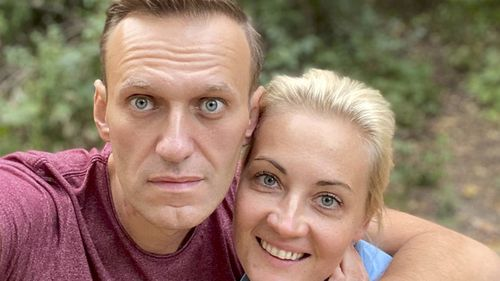 Russian opposition leader Alexei Navalny and his wife Yulia pose for a selfie in an unknown location in Germany posted to Instagram