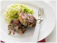 Corned beef patties with braised cabbage