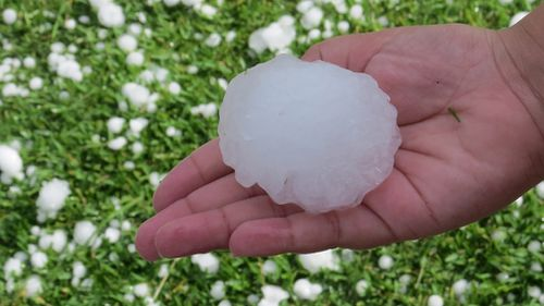 The storm dumped hail in Leppington.