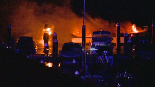 A yacht caught fire early this morning at a marina in Sydney's south.