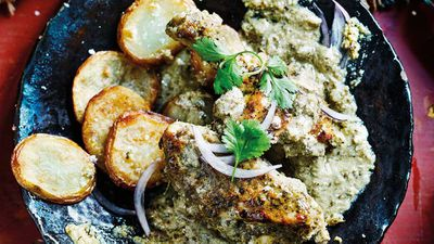 "Recipe: <a href=""http://kitchen.nine.com.au/2017/10/31/11/26/anjum-anands-hyderabad-baked-herby-chicken-korma"" target=""_top"">Anjum Anand's Hyderabad baked herby chicken korma</a>"