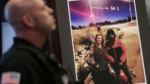A picture of Katelyn McClure and Johnny Bobbitt Jr. is displayed during a news conference in New Jersey.
