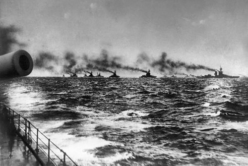 Scenes from WWI: The British Grand Fleet under admiral John Jellicoe on their way to meet the Imperial German Navy's fleet for the Battle of Jutland in the Norththe British Grand Fleet under admiral John Jellicoe on their way to meet the Imperial German Navy's fleet for the Battle of Jutland in the North Sea.