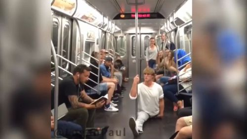 Logan Paul performed the splits in unexpected locations across New York. (Supplied)