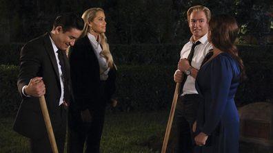Mario Lopez as A.C. Slater, Elizabeth Berkley as Jessica Spano, Mark-Paul Gosselaar as Zack Morris, Tiffani Thiessen as Kelly Kapowski as seen on the reboot of Saved By The Bell.