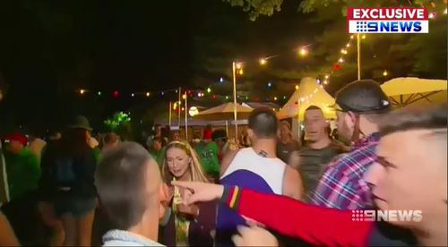 The sickening footage shows Filip Manevski-Radin launch a punch at Brittany Powell during Schoolies celebrations at Victor Harbor. (9NEWS)