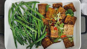 Five spiced baked tofu and sesame beans
