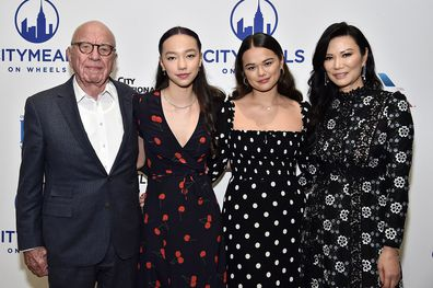 (From left) Grace and Chloe Murdoch with their parents at Citymeals On Wheels' 33rd Annual Power Lunch in 2019.