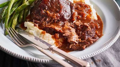 """<a href=""""http://kitchen.nine.com.au/2017/05/10/16/29/beef-cheeks-in-red-wine-sauce"""" target=""""_top"""">Dan Churchill's beef cheeks in red wine sauce with mash</a><br /> <br /> <a href=""""http://kitchen.nine.com.au/2016/06/06/20/54/easy-does-it-with-slowcooked-meals"""" target=""""_top"""">More slow-cooked dinners</a>"""