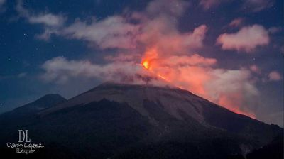 The Fuego volcano erupting Sunday night in Guatemala. (Supplied/Dany Lopez)