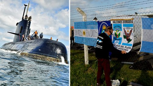 The missing Argentine submarine San Juan and relatives outside a naval base. (Photos: Argentine Navy and AP).