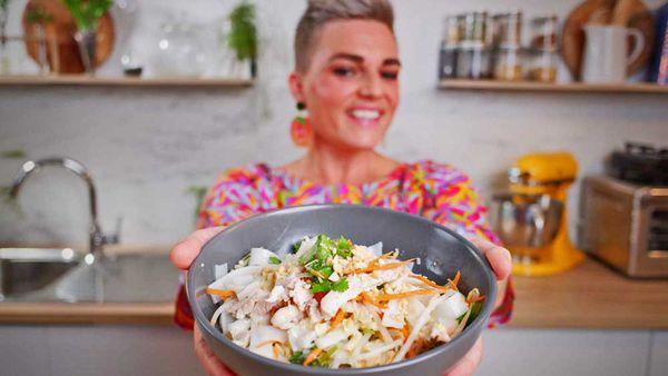 Jane de Graaff cooks coconut poached chicken salad for Quarantine Kitchen