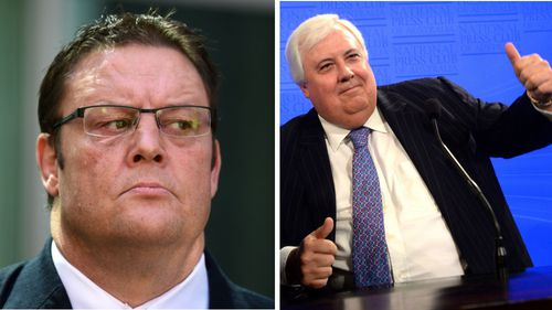 Glenn Lazarus and Clive Palmer. (AAP)