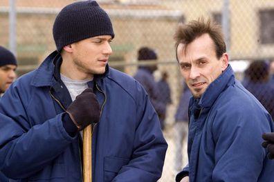 Wentworth Miller and Robert Knepper (T-Bag) on the set of Prison Break.