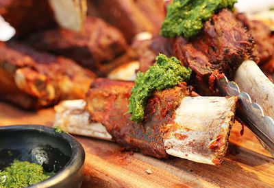 """Recipe:&nbsp;<a href=""""http://kitchen.nine.com.au/2016/05/05/15/10/south-american-beef-ribs-with-chimichurri"""" target=""""_top"""">South American beef ribs with chimichurri</a>"""