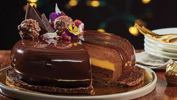 Golden Christmas cake with chocolate jaconde, mousse and passionfruit curd by Reynold Poernomo for Ferrero
