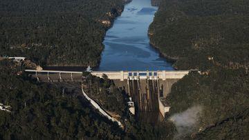 An aerial view of Warragamba Dam taken last month.