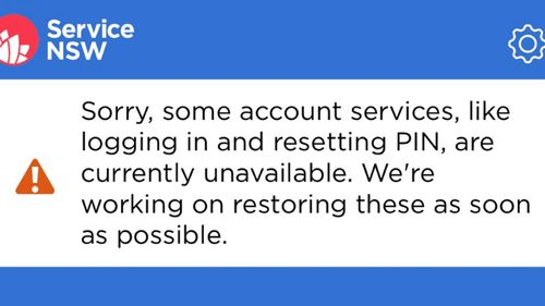 The error message on the Service NSW app.