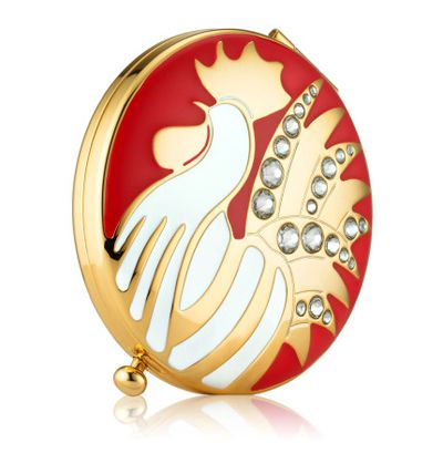 "<a href=""http://shop.davidjones.com.au/djs/ProductDisplay?catalogId=10051&amp;productId=11300026&amp;langId=-1&amp;storeId=10051"" target=""_blank"">Estee Lauder Year of the Rooster Compact, $398.</a><br> One-of-a-kind refillable compact designed by Monica Rich Kosann is filled with Perfecting Pressed Powder."