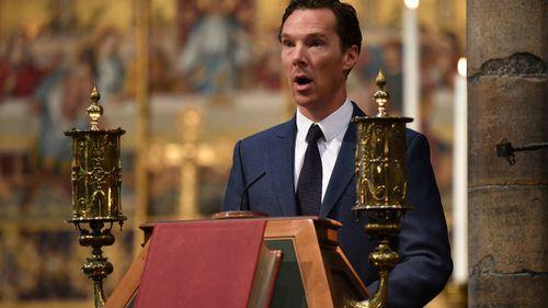 Benedict Cumberbatch speaks at the memorial service for Professor Stephen Hawking. Picture: Ben Stansall/PA via AP