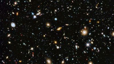 Around 10,000 galaxies reside in the Hubble Deep Field.