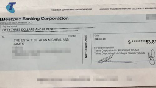 A copy of the cheque Telstra sent Ann which she is unable to bank.