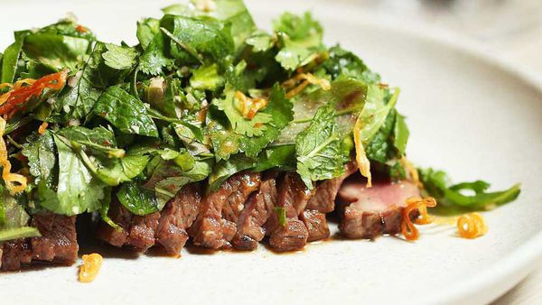 Thi Le's lamb backstrap with jungle mix and smoked rice powder recipe