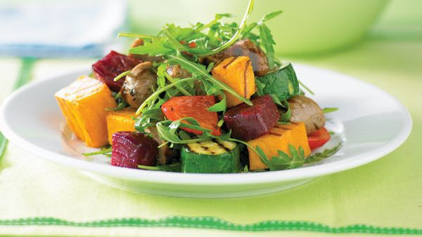 Sausage and grilled vegie salad