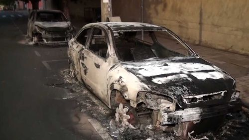 Cars were torched to slow police efforts to get to the robbery scene.