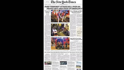 <em>The New York Times</em> ran 'Paris terrorist attack kills over 100; France declares state of emergency'.