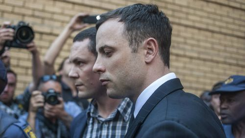 Pistorius leaves court after the adjournment. (AAP)