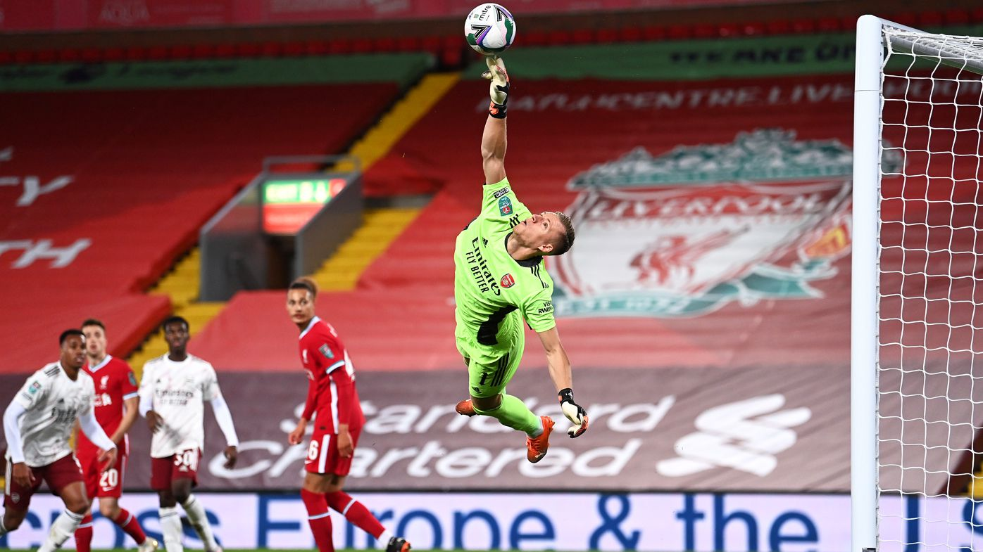 Bernd Leno of Arsenal makes a save during the Carabao Cup fourth round