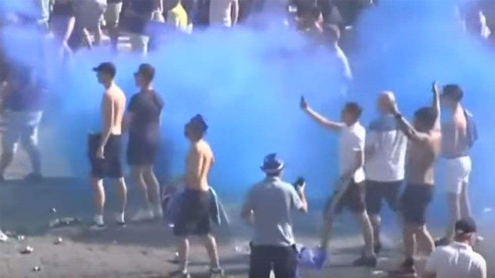 Leicester fans clash with Spanish police before Champions clash with Atletico Madrid