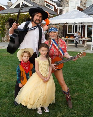 Jessica Simpson, husband Eric Johnson. son Ace, daughter Maxwell, brown hair, Halloween