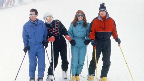 The Prince And Princess Of Wales with The Duke And Duchess Of York enjoy a skiing holiday in Klosters, Switzerland in 1987. Picture: Getty